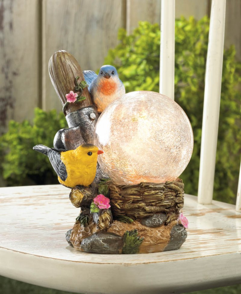 Image 0 of Two Songbirds on Flowers with LED Solar Ball Garden Lamp Figurine