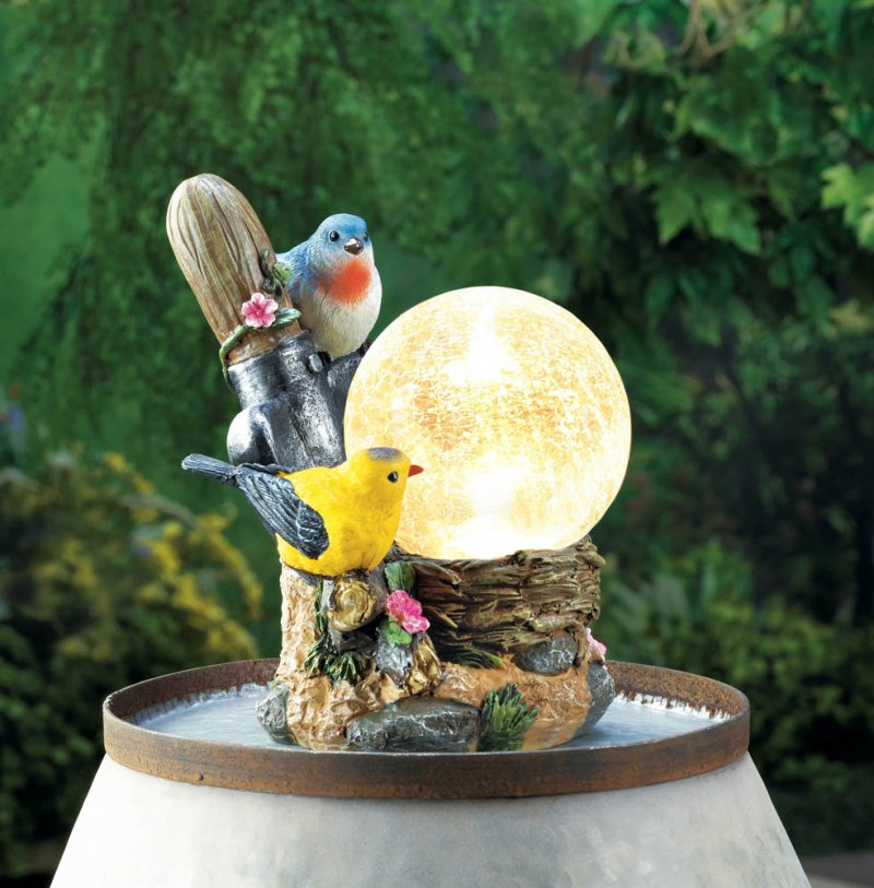 Image 1 of Two Songbirds on Flowers with LED Solar Ball Garden Lamp Figurine