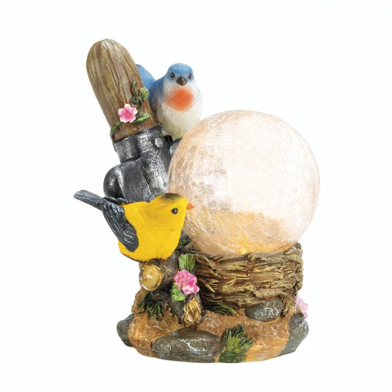 Image 3 of Two Songbirds on Flowers with LED Solar Ball Garden Lamp Figurine