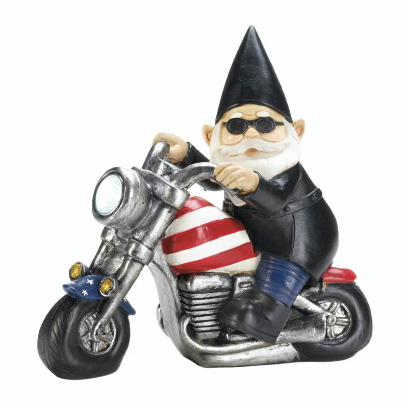 Image 1 of Biker Garden Gnome Riding Patriot Chopper w/ Solar Headlight Garden Figurine