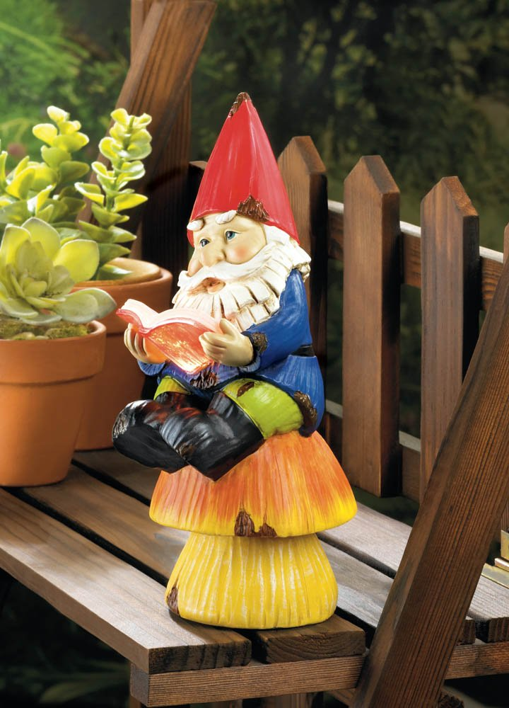 Image 0 of Colorful Bookworm Gnome Sitting on Mushroom Reading Book Solar Garden Figurine