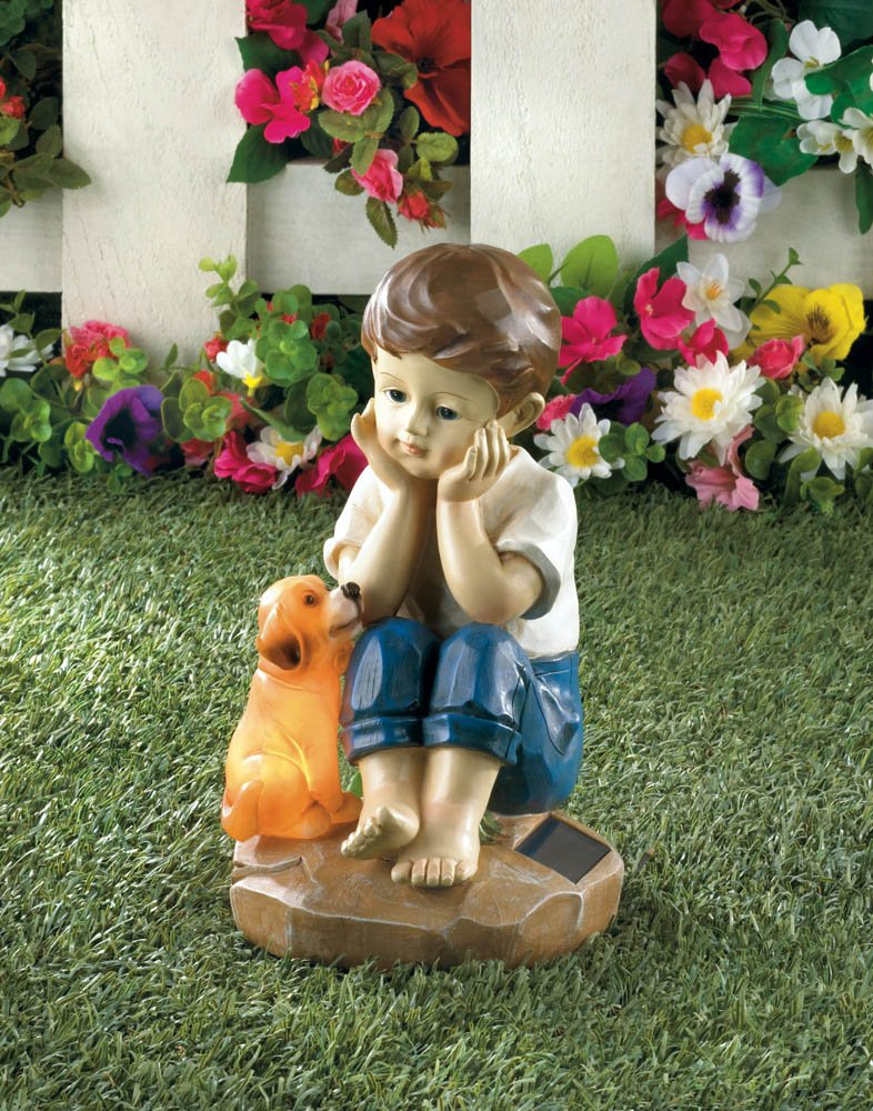 Image 0 of Sweet Boy Sitting w/ His Faithful Pup Solar Garden Figurine Statue