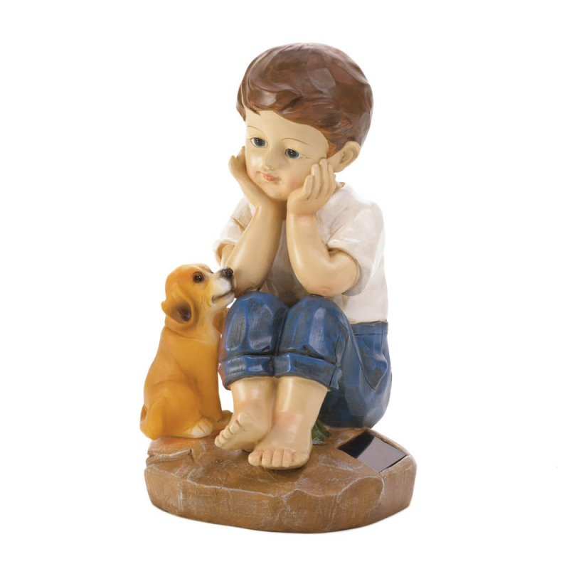 Image 1 of Sweet Boy Sitting w/ His Faithful Pup Solar Garden Figurine Statue
