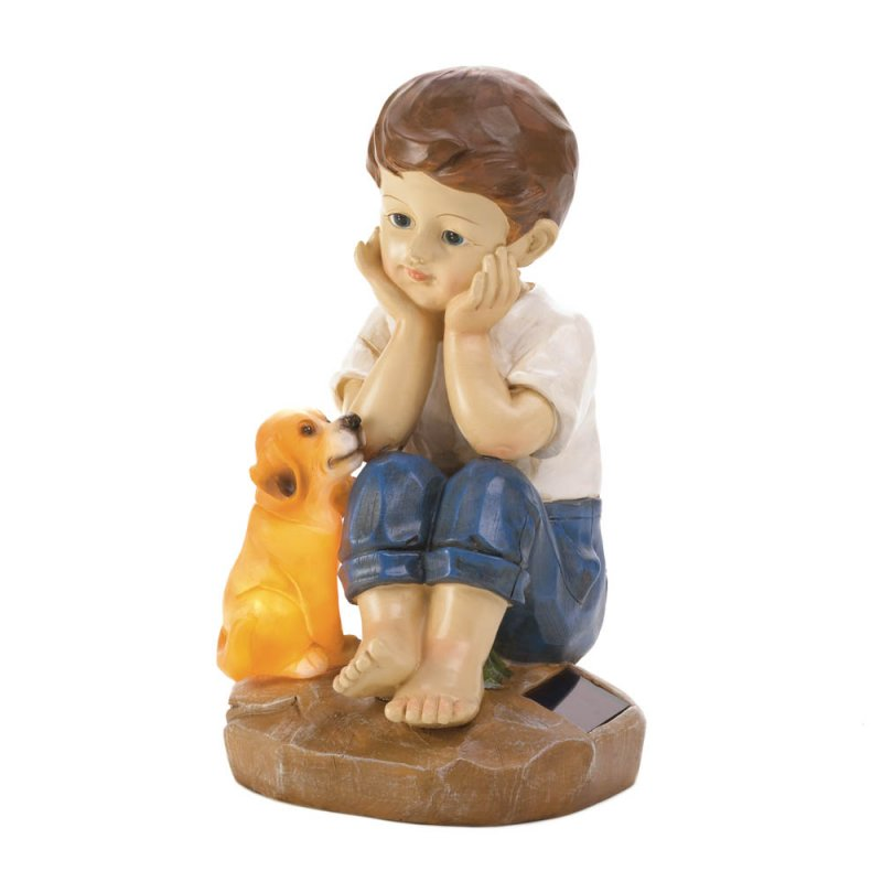 Image 2 of Sweet Boy Sitting w/ His Faithful Pup Solar Garden Figurine Statue