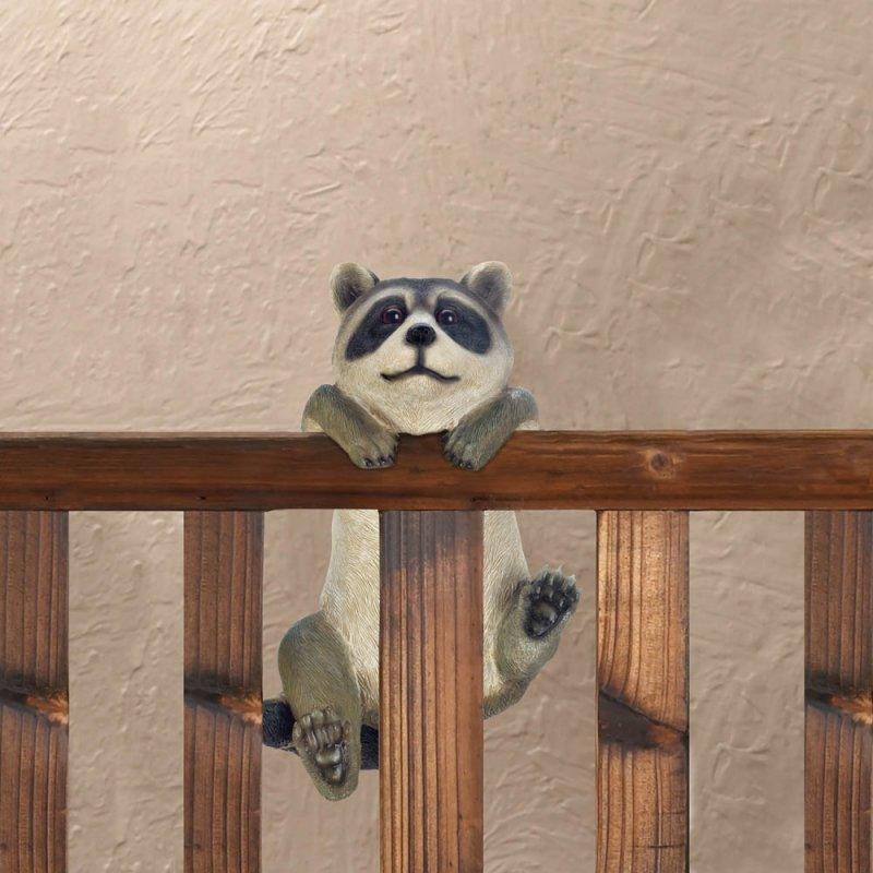 Image 1 of Curious Climbing Raccoon Buddy Hang on Fence, Wall or Flower Garden Figurine