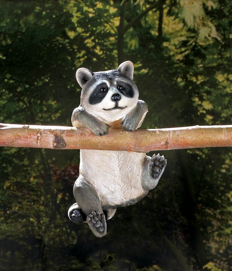 Image 0 of Curious Climbing Raccoon Buddy Hang on Fence, Wall or Flower Garden Figurine