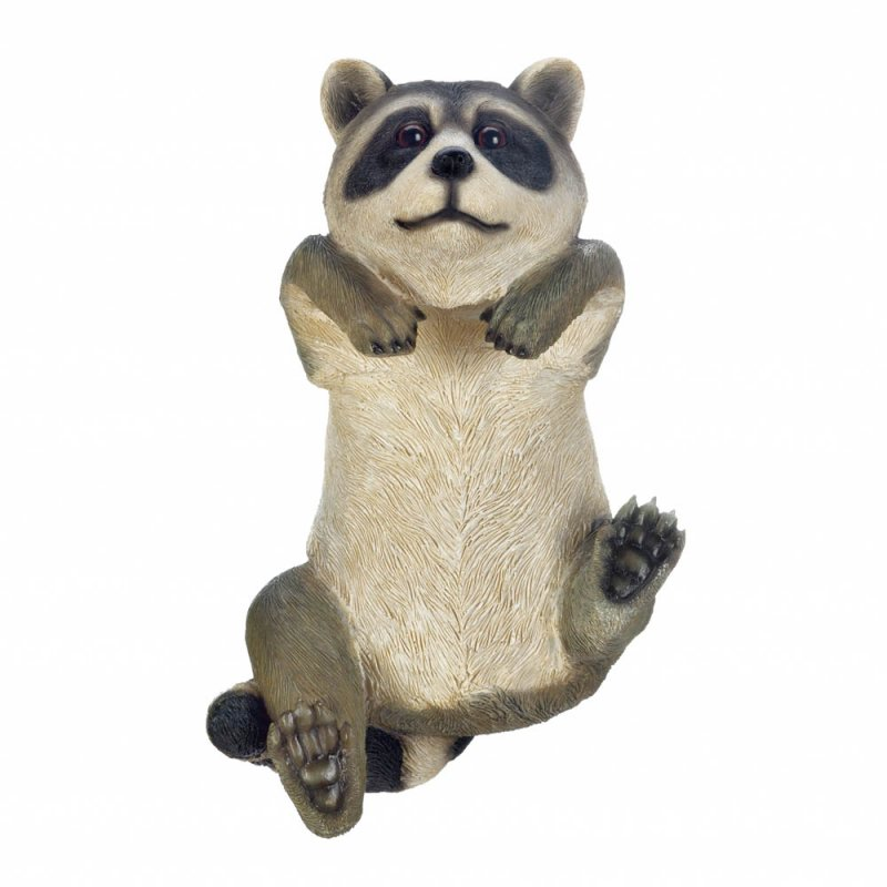 Image 2 of Curious Climbing Raccoon Buddy Hang on Fence, Wall or Flower Garden Figurine