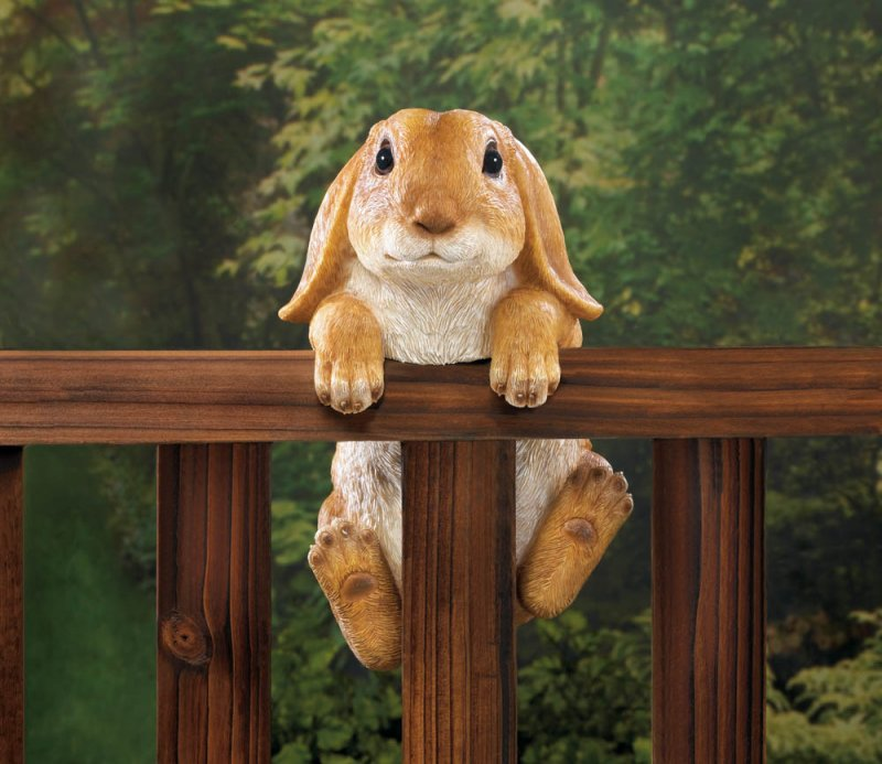 Image 0 of Climbing Golden Baby Bunny Buddy Hang on Fence, Wall or Flower Garden Figurine