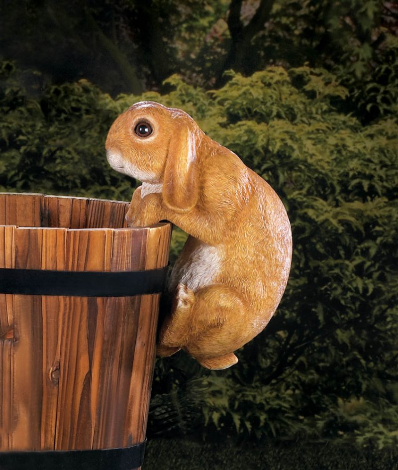 Image 1 of Climbing Golden Baby Bunny Buddy Hang on Fence, Wall or Flower Garden Figurine