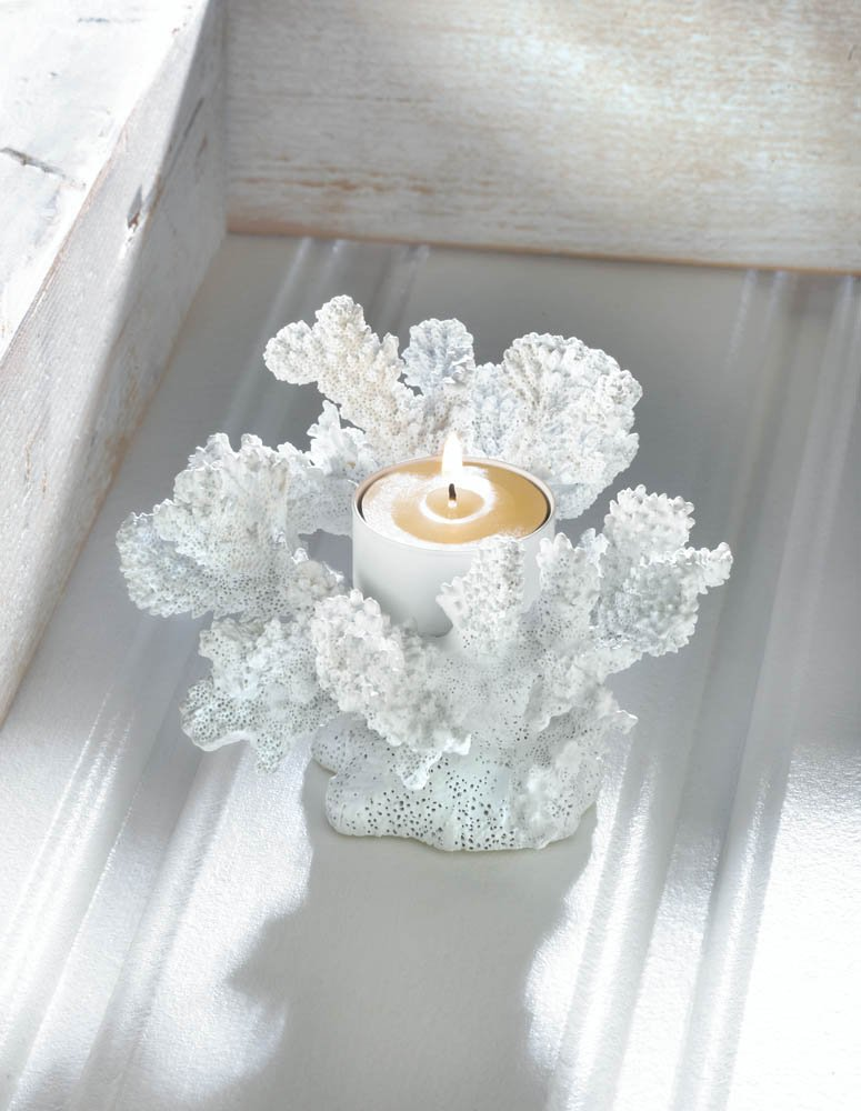 Image 0 of White Faux Coral Tealight Candle Holder Nautical Decor