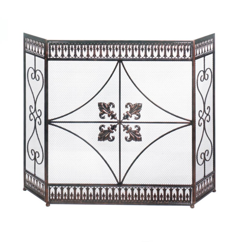 Image 0 of French Fleur de Lis & Scroll Flourishes Three Panel Fireplace Screen