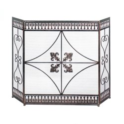 French Fleur de Lis & Scroll Flourishes Three Panel Fireplace Screen