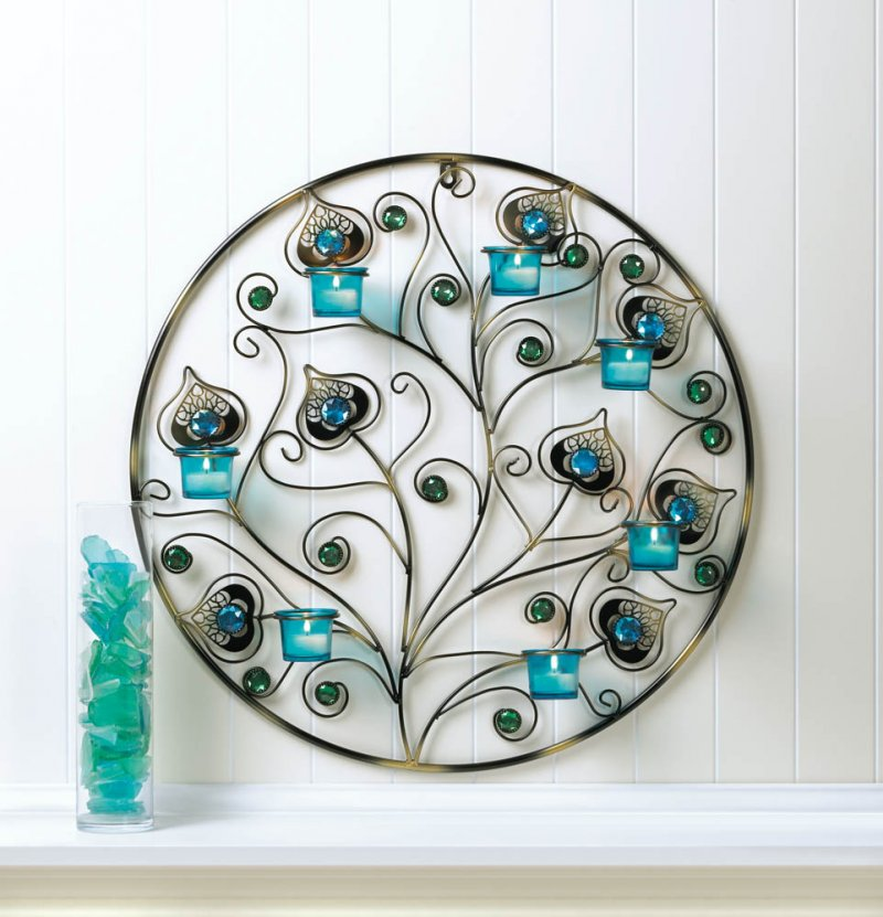 Image 0 of Peacock Plumes Circular Candle Wall Sconce 23