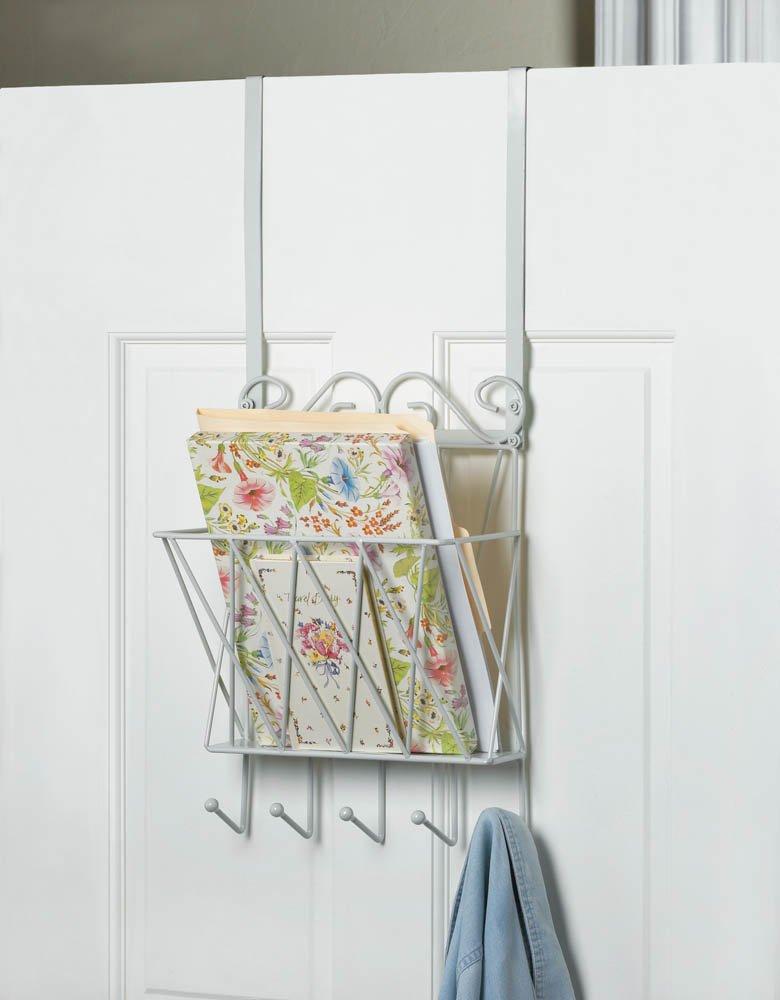 Image 0 of White Metal Door Rack w/ Basket for Mail and Hooks for Keys