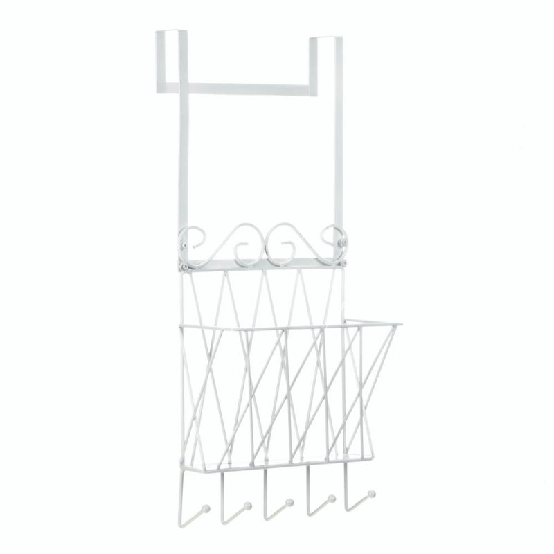 Image 1 of White Metal Door Rack w/ Basket for Mail and Hooks for Keys