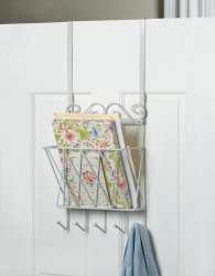 White Metal Door Rack w/ Basket for Mail and Hooks for Keys