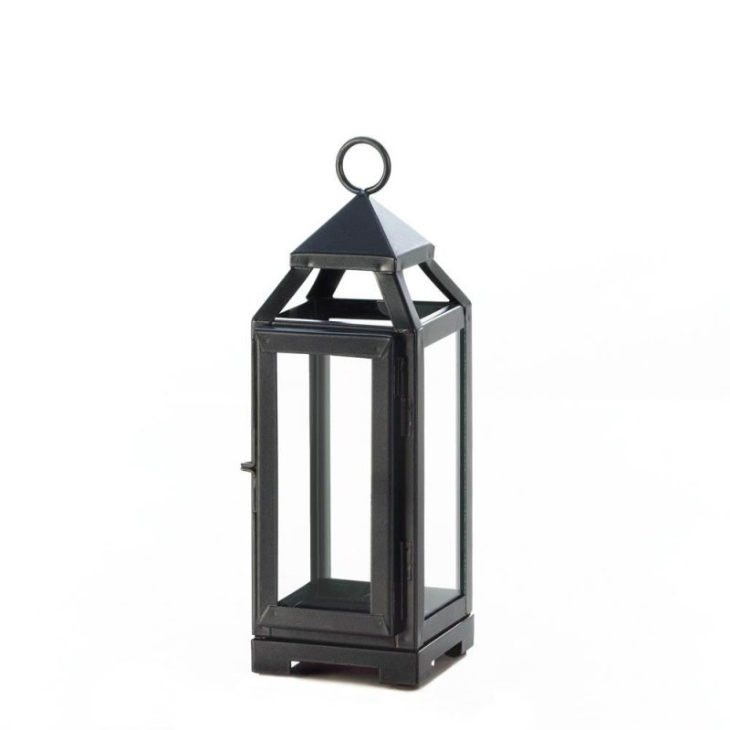Image 1 of Small Contemporary Slate Dark Gray Candle Lantern Use Indoors or Outdoors