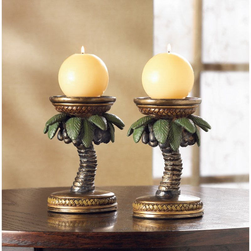 Image 0 of Tropical Bahama Palm Tree Candle Holder Pair