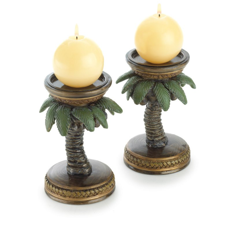 Image 1 of Tropical Bahama Palm Tree Candle Holder Pair