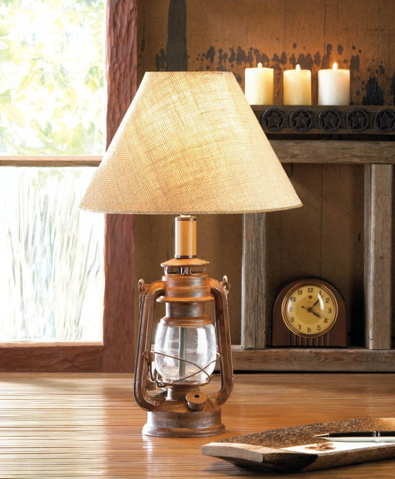 Image 0 of Vintage Camping Style Iron Lantern Table Lamp with Burlap Neutral Shade