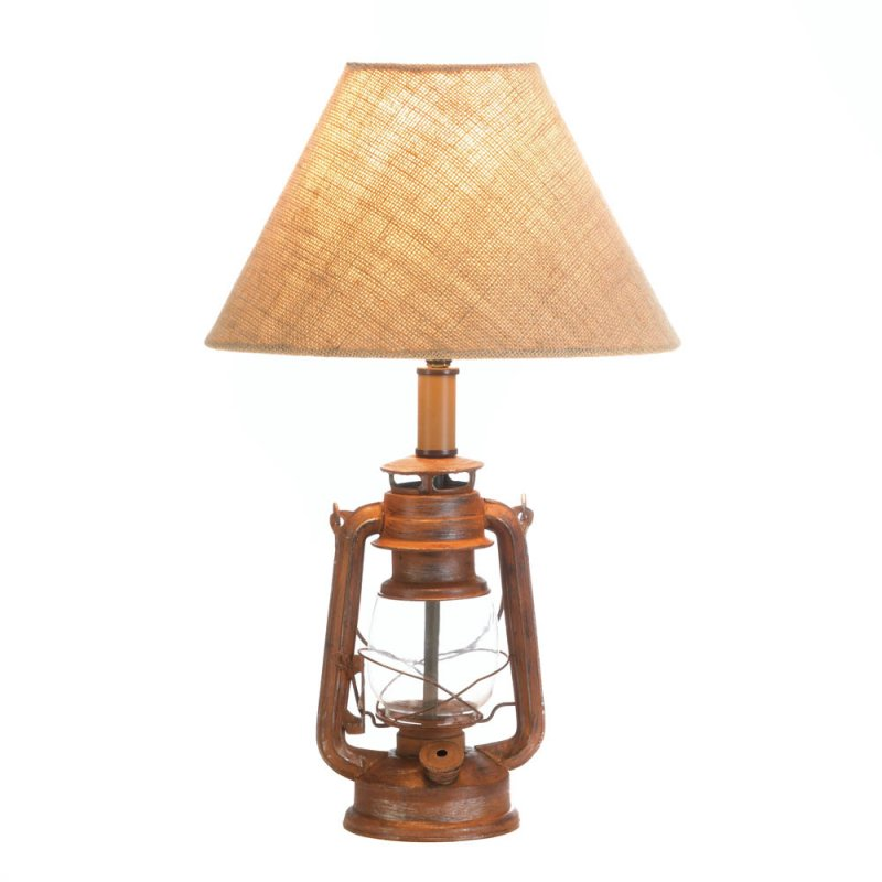Image 1 of Vintage Camping Style Iron Lantern Table Lamp with Burlap Neutral Shade