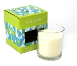 Citrus & Sage Scented Jar Candle 5.5 Oz 30 Hours Burn Time Lead Free Wick