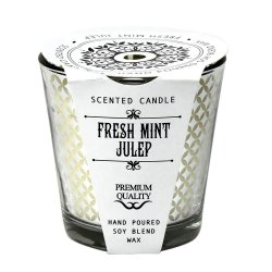 Fresh Mint Julep Scented Glass Candle Jar 25 Hours Burn Time