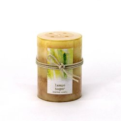 Lemon Sugar Scented 3 x 4 Pillar Candle 60 Hours Burn Time