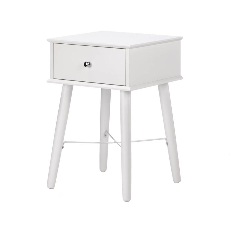 Image 1 of Modern Chic Classic White Side, Accent Table or Night Stand with Drawer