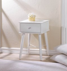 Modern Chic Classic White Side, Accent Table or Night Stand with Drawer
