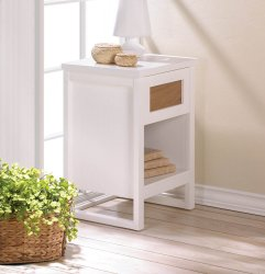 Sleek Modern Contemporary White Accent Table, Night Stand w/Drawer & Shelf