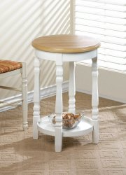 Round Accent, Side, End Table with White Decorative Legs & Bottom Shelf