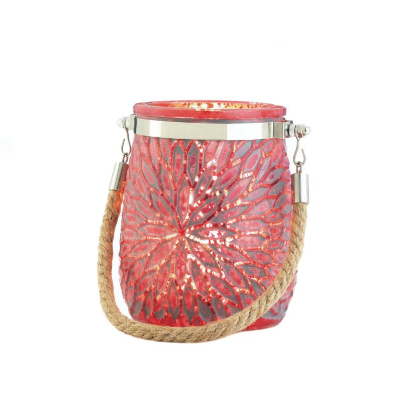 Image 1 of Red Glass Flower Pillar or Votive Candle Holder with Rope Handle