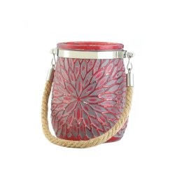 Red Glass Flower Pillar or Votive Candle Holder with Rope Handle