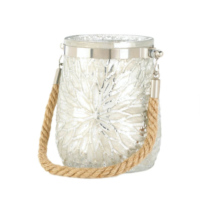 Image 0 of White Glass Flower Pillar or Votive Candle Holder with Rope Handle