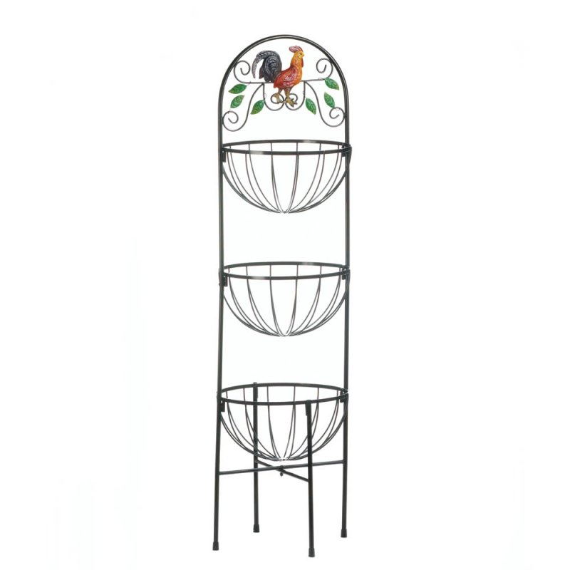 Image 1 of Rooster Theme 3-Tier Basket Kitchen Stand for Produce Storage & More