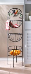 Rooster Theme 3-Tier Basket Kitchen Stand for Produce Storage & More