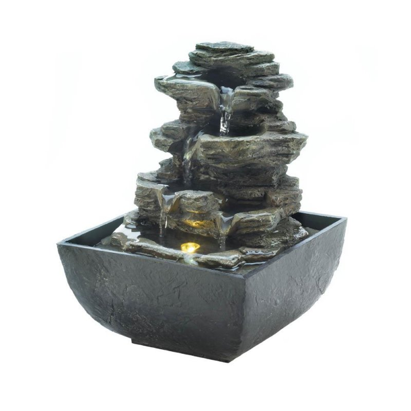 Image 0 of Tiered Rock Formation w/ LED Light Indoor Tabletop Water Fountain Electric