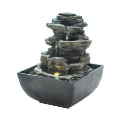 Tiered Rock Formation w/ LED Light Indoor Tabletop Water Fountain Electric