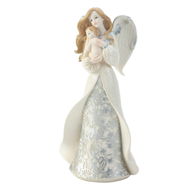 Image 0 of Pretty Angel in Flowing Gown Cradling Newborn Baby Figurine