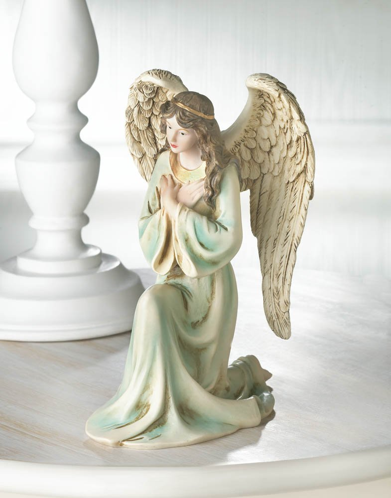 Image 0 of Graceful Kneeling Angel in Multi-Color Gown w/ Golden Headband & Necklace