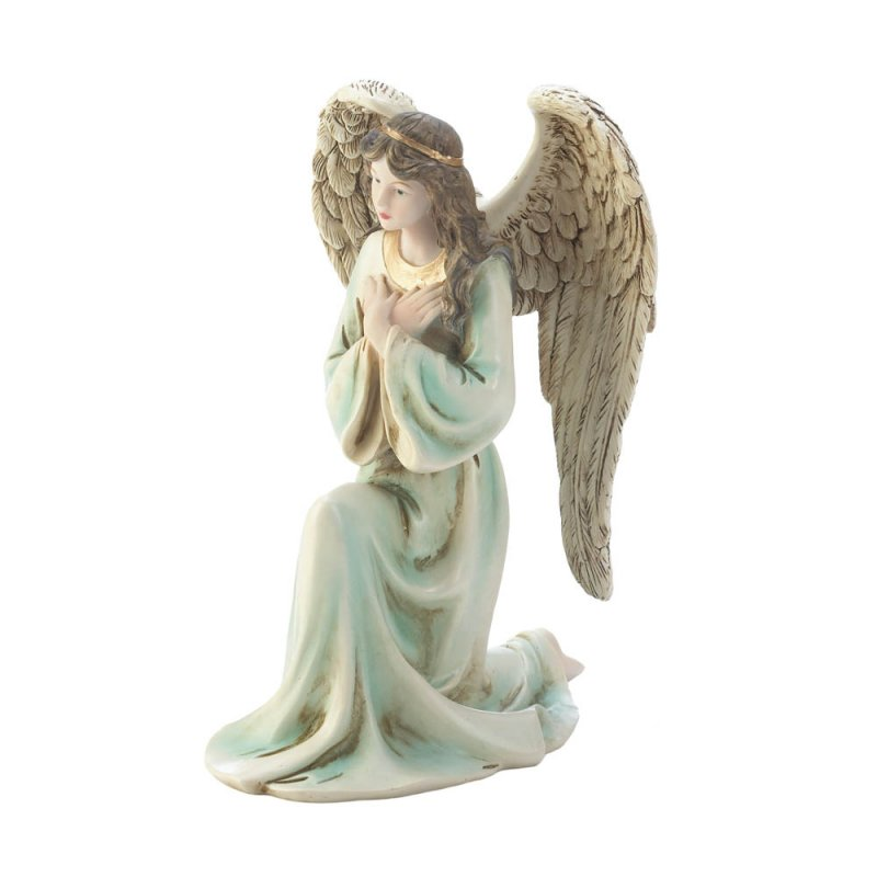 Image 1 of Graceful Kneeling Angel in Multi-Color Gown w/ Golden Headband & Necklace