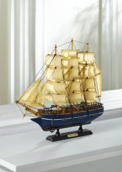 Beautifully Detailed  Wooden Cutty Sark Ship Model Cotton Sails Nautical Decor