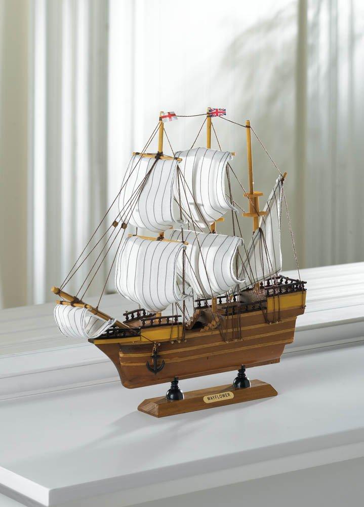 Image 0 of Beautifully Detailed  Wooden Mayflower Ship Model Cotton Sails Nautical Decor