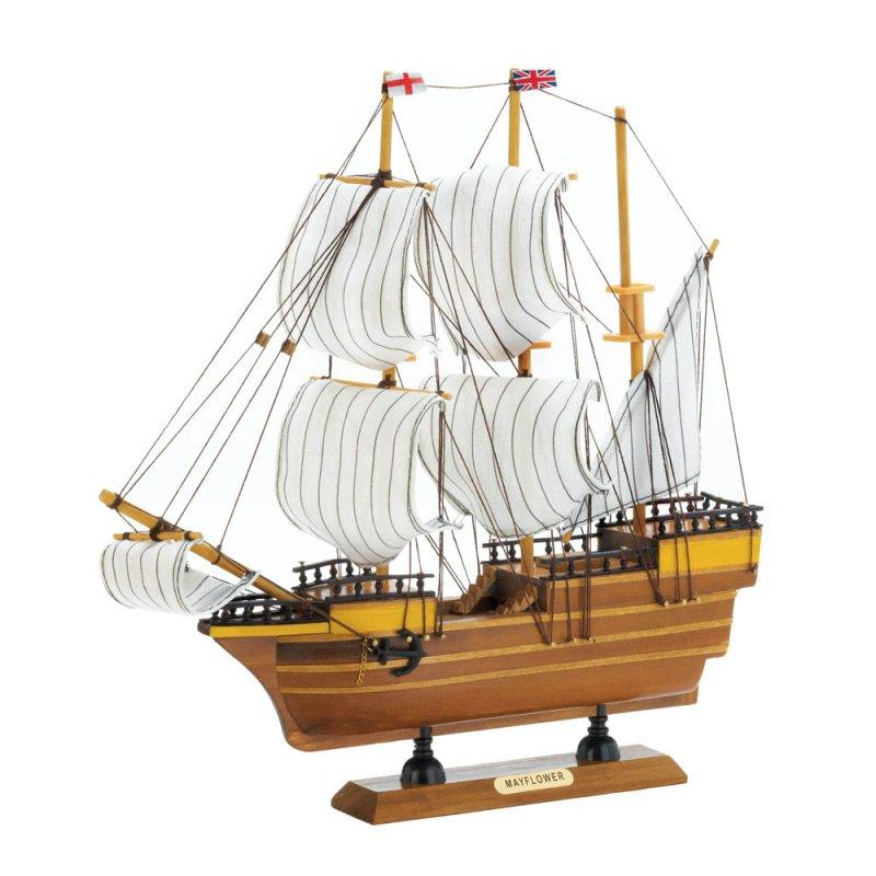Image 1 of Beautifully Detailed  Wooden Mayflower Ship Model Cotton Sails Nautical Decor