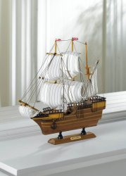 Beautifully Detailed  Wooden Mayflower Ship Model Cotton Sails Nautical Decor