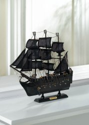 Detailed  Wooden Black Pirate Ship Model Cotton Sails Nautical Decor