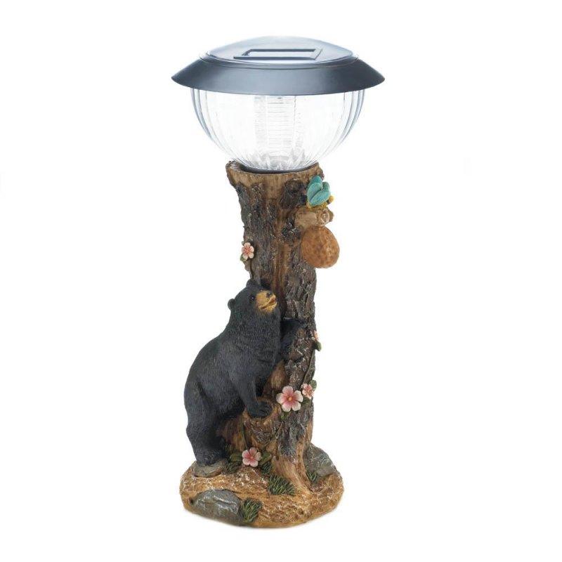 Image 1 of Black Bear on Tree Garden Figurine Solar Path Lighting