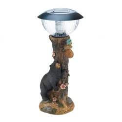 Black Bear on Tree Garden Figurine Solar Path Lighting