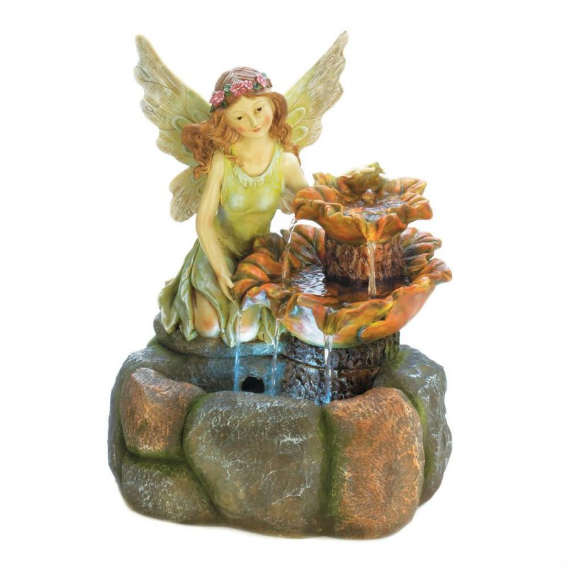 Image 0 of Colorful Fairy with a Natural Rock Design Outdoor Garden Fountain